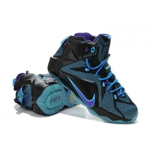Мужские баскетбольные кроссовки Nike Lebron 12 (Black Blue) 31600c8233e