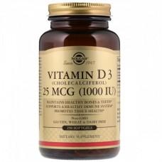 Витамины Solgar Vitamin D3 1000 IU (250 желатиновых капсул)