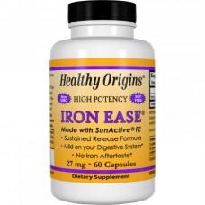 Биодоступное железо Healthy Origins Iron ease 27 мг (60 капсул)