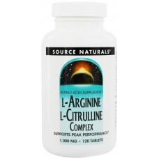 Аргинин Source Naturals L-Arginine L-Citrulline Complex 1000 мг (120 таблеток)