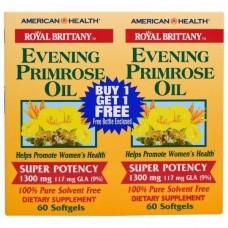 Масло Вечерней Примулы American Health Primrose Oil 1300 мг 2 флакона (120 капсул)