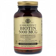 Витамины для кожи, ногтей и волос Solgar Biotin В7 5000 мкг (100 желевых капсул)