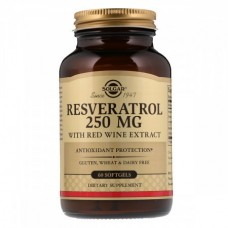 Антиоксидант который способствует омоложению организма Solgar Resveratrol with red Wine Extract 250 мг (60 капсул)