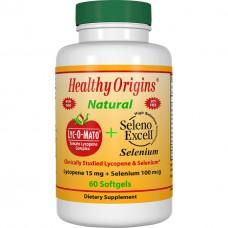 Ликопин + Selenium + Витамин Е Healthy Origins Lyc O Mato + seleno excell (60 желатиновых капсул)