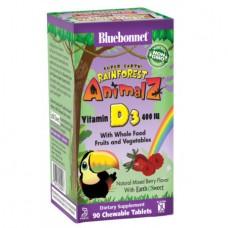 Витамин Д3 для Детей Bluebonnet Nutrition Rainforest Animalz Vitamin D3 400 IU (90 Жевательных Конфет)