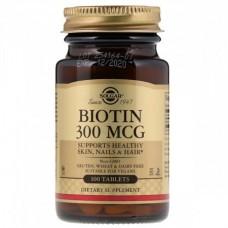 Витамины для кожи, ногтей и волос Solgar Biotin В7 300 мкг (100 таблеток)