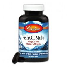 Витамины и Минералы с Омега 3 Carlson Fish Oil Multi (60 желатиновых капсул)